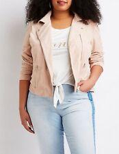 7195146700d Womens Plus Size Fashion Mauve Faux Suede Asymmetric Zipper Moto Jacket
