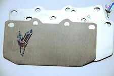 Titanium brake pad shims for Mitsubishi 3000GT VR4 4 pot front caliper.1.0mm