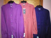 NWT NEW mens orchid orange purple VAN HEUSEN flex collar pin cord dress shirt