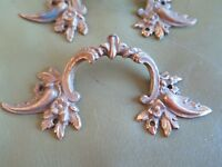 Exquisite Set of 3 Ornate Antique French Brass furniture handles