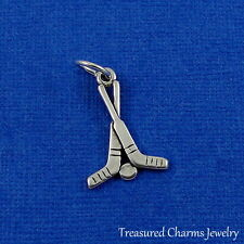925 Sterling Silver Hockey Sticks Charm - Hockey Puck Goalie Pendant NEW