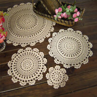 4Pcs/Lot Ecru Vintage Hand Crochet Lace Doilies Small Placemats 6inch Sunflower