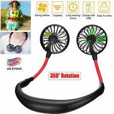 Portable Mini USB Rechargeable Neckband Fan Sport Dual Cooling Neck Hanging Fan