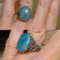Opal Man Ring Wedding Engagement Moon White Size6-10 925 Fire Stone Silver Woman