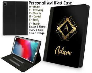 Personalised  Apple iPad Case Cover Flip Leather Printed Any Initials/ Name