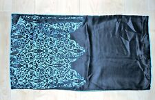 Pillow Sham King Size Black Metallic Blue Polyester Sateen Paisley Color Block