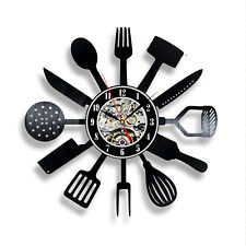 Modern Design Cutlery Kitchen Utensil Wall Clock Spoon Fork Clock Vinyl
