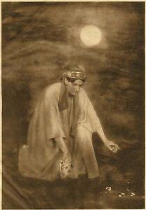 Adelaide Hanscom - Kneeling Man - 1905 Photogravure on Tissue - Rubaiyat -