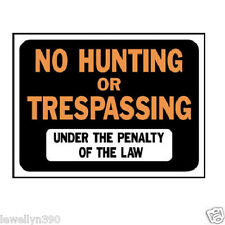 10 HY-KO NO HUNTING OR TRESPASSING SIGN PLASTIC