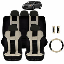 NEW BEIGE & BLACK POLYESTER SEAT COVERS & STEERING COMBO 12PC SET FOR VANS 2320