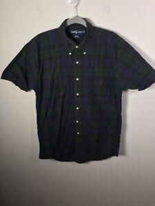 Ralph Lauren mens multicolour plaid blaire button up shirt size L short sleeve