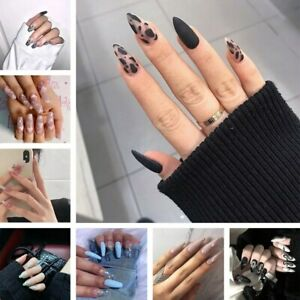 24 Pcs Fake Nails Long Ballerina French Press On Nails Tips With Design Manicure