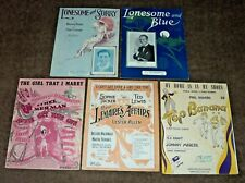 (5) Piece Sheet Music Lot - The Girl That I Marry, Lonesome and Sorry, Blue +