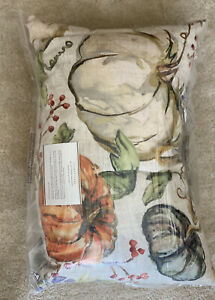 NEW Pottery Barn Watercolor Painted Pumpkin Patch Indoor Outdoor Lumbar Pillow