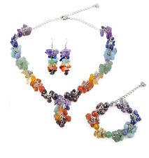 7 Chakra Gemstone Chip Set, Necklace, Bracelet, Earrings