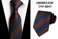Tie Silk Navy Blue Brown Yellow Stripe Patterned Wedding Mens Necktie 100% Silk