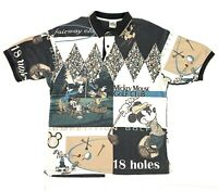 Vtg 90s Disney Store Mickey Mouse Polo Shirt Golf Club All Over Print Mens Sz XL