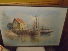 Sea - Boat - Harbor Scene Oil Painting  on canvas made by John Luini