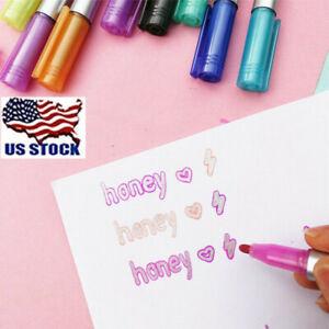 8 Colors Doodledazzle Shimmer Marker Set Outline Markers Pen Gift School Drawing