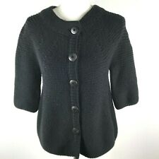 VINCE Womens L Wool Blend Thick Chunky Knit Crew Neck Button Front Cardigan
