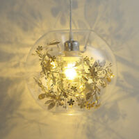 Modern Clear Glass Globe Shade 1 Light Ceiling Pendant Lamp with Metal Flowers