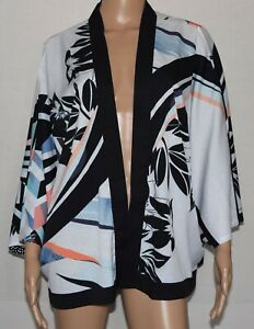 NWT Chuco's Multicolor Reversible Dot To Abstract Floral Cocoon Ruana Wrap S/M