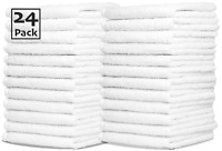24x White Face Cloths Flannels Towels | Wash Cloths 100% Egyptian Cotton 500 GSM