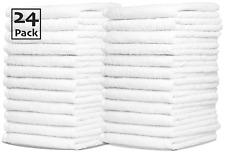 24x White Face Cloths Flannels Towels | Wash Cloths 100% Egyptian Cotton 500 Gsm