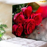 Romantic Tapestry Rose Flower Wall Hanging Garden Art Bedspread Print Home Decor