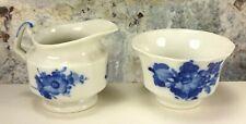 Royal Copenhagen White Porcelain w/Blue Flowers Open Sugar& Creamer