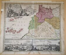 1728 Map of Morocco, Statuum Marocca Norum, J C Homann, Nuremberg, Hand Coloured