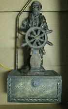 Vtg Resine Nautical Sailor with Wheel-Maritime-Table Lamp