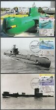 "JUDAICA - ISRAEL Sc #2162-4 - ISRAEL""S  SUBMARINES, 3 DIFF on SET of 3 MAXICARDS"