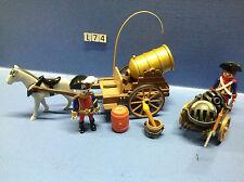 (L74) Playmobil charette canon anglais français pirates 3111 3112 3110 3940 3938