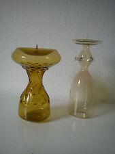2 Rauchglas Kerzenständer sehr edel Kerzenhalter gelb und klar