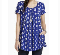 Anthropologie Holding Horses Blue Printed Abstractions Tunic Blouse Women's XS