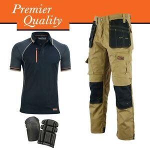 WrightFits Cargo Work Trousers With Black Polo Shirt & Knee Pads - Bundle Deal