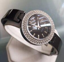 Ladies Genuine DKNY Donna Karen Black Ceramic Bangle Designer Watch NY8727