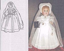 "10""ANTIQUE FRENCH BEBE/BLEUETTE DOLL COMMUNION/WEDDING DRESS HAT VEIL PATTERN"