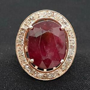 Antique 9.60ctw Old Rose Cut Diamond & Ruby 14K Rose Gold 925 Silver Ring Size 6