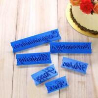 6pcs/set Handwriting Fondant Cake Embosser Plastic Letters Mold Dough Cutter DIY