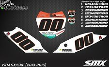 KTM SX SXF 2013-2015 150 250 350 450 custom number plates backgrounds decals MX