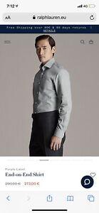 Luxury Ralph Lauren Purple Label Grey Cotton Business Dress Casual Shirt L 16.5