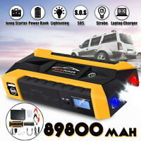 12V  89800mAh Car Jump Starter Pack Booster LCD 4 USB Charger Battery Power Bank