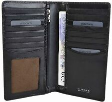 VISCONTI Mens BLACK Leather RFID  Long Jacket Wallet - Gift Boxed - TSC45