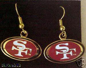 San Francisco 49ers Logo J Hook Earrings NEW SUPER BOWL 47 DOUBLE SIDED