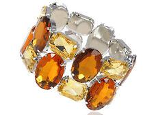 GB Dark Brown Topaz Gem Crystal Faceted Bead Accessory Elastic Bracelet Cuff