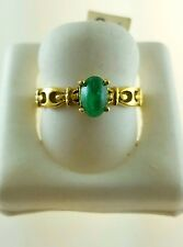 18KT YELLOW GOLD RING WITH COLOMBIAN MUZO EMERALD OVAL CABOCHON 7.5x6mm