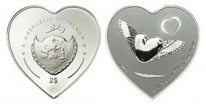 2012 Palau Large Silver Heart Shape $2 My Heart Flies for You