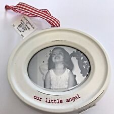 Pottery Barn Kids Christmas Ornament Mom & Me 2003 White Oval Wood Red Gingham